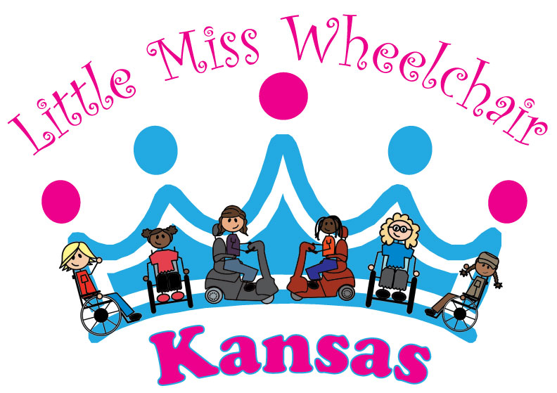 Little Miss Wheelchair Kansas logo with crown and little girls